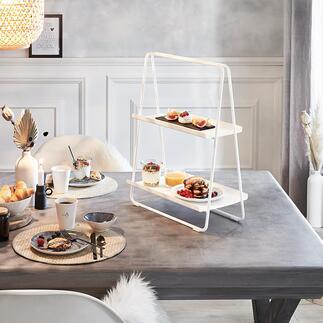 Draagbaar rek Mobiel en praktisch rek als bijzettafeltje, etagère of dienblad voor koffie/thee. Tijdloos mooi, Scandinavisch design.