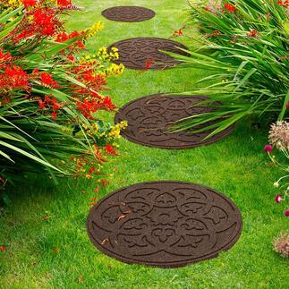 Gerecyclede tegel Medaillon, per 4 stuks Decoratief. Duurzaam. En in no time gelegd: de tegels met medaillon gemaakt van gerecyclede autobanden.