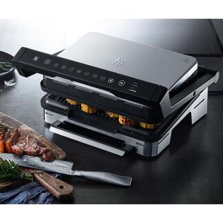 WMF contact-/tafelgrill Perfection Vis, vlees, panini's en meer: volledig automatisch en perfect gegrild. Design- en materiaalkwaliteit van WMF.