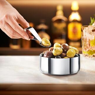 Design-snackschaaltje met lepel Deens design voor het stijlvol serveren van snacks en antipasti.
