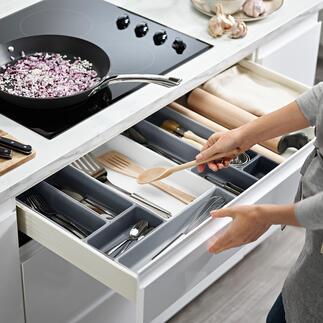 Modulaire lade-organizer De modulaire organizer maakt een persoonlijke lade-indeling mogelijk. Van de Britse huishoudexpert Joseph Joseph.