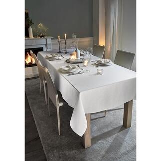 Chique tafelkleden in linnen-look met glitter Schitterende creaties voor een feestelijk gedekte tafel. Onderhoudsvriendelijke luxe voor een verrassend voordelige prijs.