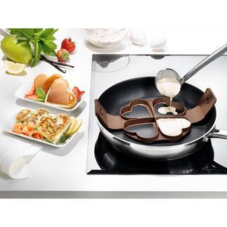 Hartvorm voor pannenkoeken Vier perfecte pannenkoekjes in de vorm van een hart in één keer.