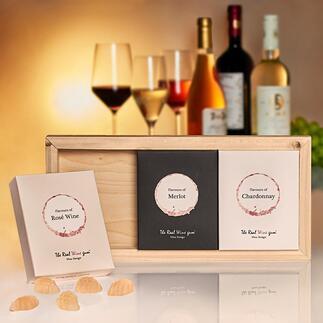 TheRealWineGum®Trio Geïnspireerd door hoogwaardige druivensoorten: The Real Wine Gum®. Lifestyle-novelty en traktatie voor wijnliefhebbers.