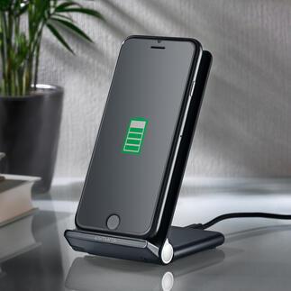 Smartphonehouder/draadloos oplaadstation Traploos verstelbare houder voor mobiele telefoon en draadloos oplaadstation in één.