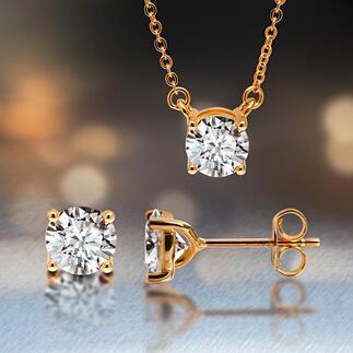 Moissanietenoorstekers of hanger met schakelketting Fonkelend als kostbare diamanten. Absoluut duurzaam en ethisch verantwoord. De perfecte synthese van laboratorium en natuur.