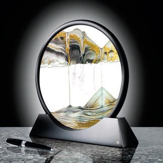 Zandsculptuur Met oneindig veranderlijk structuurspel. Een blikvanger op uw bureau, in de woon- of slaapkamer.