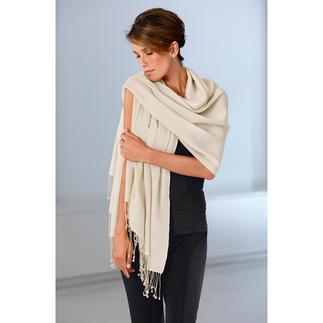 Pashmina-sjaal Met de hand geweven Pashmina: zo dun, dat u de stola door uw trouwring kunt halen.