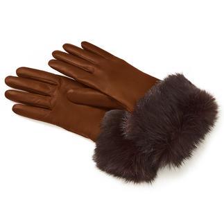 Leren handschoenen met konijnenbont Soepel leer van het haarschaap. Echt konijnenbont en een heerlijk zachte voering van zuiver kasjmier.