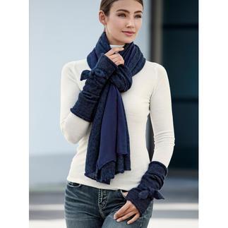 Ancini doubleface-sjaal of armwarmers Winterse, warme accessoires met een uniek elegant accent. Doubleface-sjaal en armwarmers van Ancini, Italië.