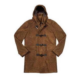 Hackett London duffelcoat van geitensuèdeleer Van superfijn geitensuèdeleer: de koningsklasse onder de oer-Britse duffelcoats. Van Hackett London.