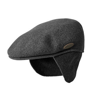 Kangol® flapcap met oorwarmers Helemaal de trend: flatcaps. Gemaakt van gewassen wol. Met uitklapbare nek- en oorwarmer. Van Kangol®.