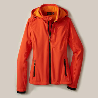 Softshell- damesjack Smal, licht en toch heerlijk warm. Jack van softshell met WindProtect® van CMP.