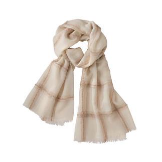 Alpaca-bouclésjaal Het lichte, zachte (en stijlvol subtiele) exemplaar onder de modieuze geruite sjaals.