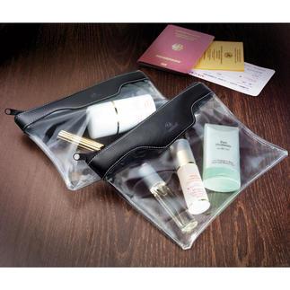 Handbagagetoilettas, set met 2 stuks Elegant door de veiligheidscontrole op het vliegveld.