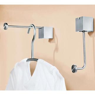 """Designkleerhaak """"pinup"""" of """"pinup duo"""" Bekroond met prijs: elegante kleerhaak. Of royale garderobestang. Eén greep is voldoende. Nu ook als dubbele haak."""