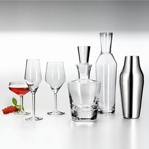 Cocktailglas, champagneglas, allround-wijnglas, whiskykaraf, waterkaraf en shaker.