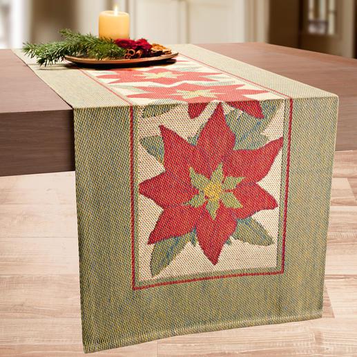 Tafelloper 'Kerstster' Een tafelloper als een schilderij. Unieke weefmethode, met innovatieve 3-kleurige pixeltechniek.