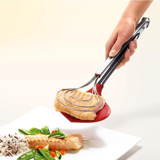 XXL-kooktang Eindelijk: een extra brede keukentang. Houdt zelfs delicate etenswaren stevig vast.