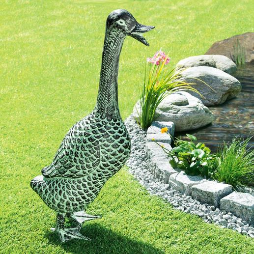 Tuinsculptuur 'Eend' Originele tuinsculptuur van weerbestendig aluminium. Levensgroot en met prachtig patina.