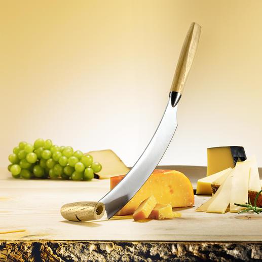 Origineel Hollands kaasmes Het kaasmes van Boska: heel eenvoudig wiegen in plaats van moeizaam snijden.