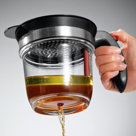 Gewoon de hendel naar beneden drukken en de magere bouillon/jus loopt uit de bodem.