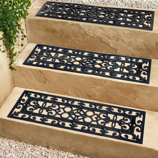 Traptredenbescherming, set van 3 Elegante, veilige trapbescherming voor buitentrappen. Mooie smeedijzeroptiek.