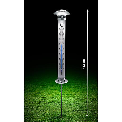 Solar-tuinthermometer Een thermometer die ook in het donker af te lezen is – zelfs tot op enkele meters afstand.