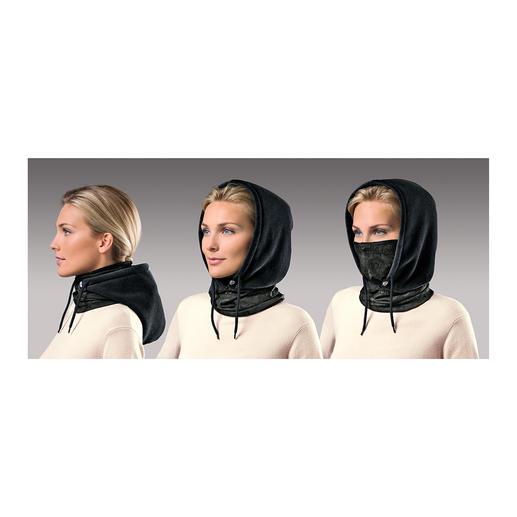 Gewoon over uw hoofd trekken... en u hebt een behaaglijke sjaal. Zo nodig beschermt de zachte fleece capuchon het hoofd en de oren... en met zijn microvezel inzetstuk zelfs de mond en neus...