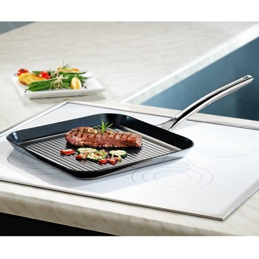 Grillpan Vulcano Ceramic Krasbestendig gecoat, maar kan ook tegen temperaturen tot 400 °C en is geschikt voor inductie.
