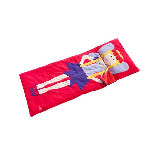 Kussenovertrek (via de zijkant te voorzien van een kussen) en slaapzak zijn uit één stuk gemaakt.