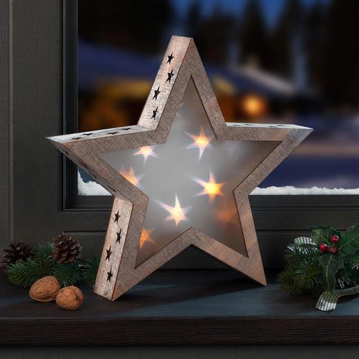 Hologramster De houten ster met fascinerend effect. Sfeervol sterrenlicht dat elke ruimte betovert.