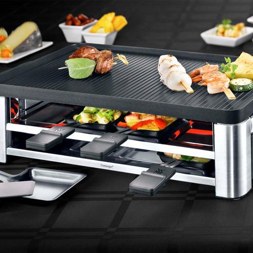 WMF combi-gourmetstel LONO - Raclette, tafelgrill en crêpemaker in één elegant apparaat. Met toebehoren voor 8 personen.
