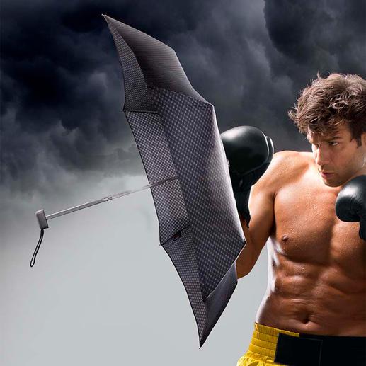 Mini-paraplu met carbonsteel Superlicht. Met 90(!) cm regenscherm. Bestand tegen windsnelheden tot maar liefst 80 km/h.