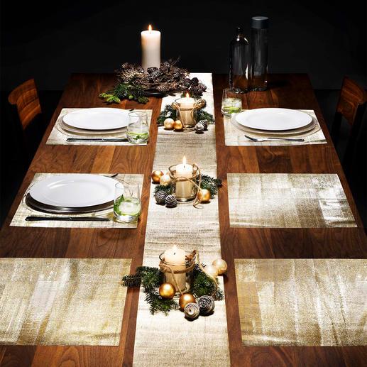 Glinsterende tafelfolie, 9-delige set Beschermt uw tafel ook tegen krassen en vlekken. In goud- of zilverkleur. Past bij elk servies.