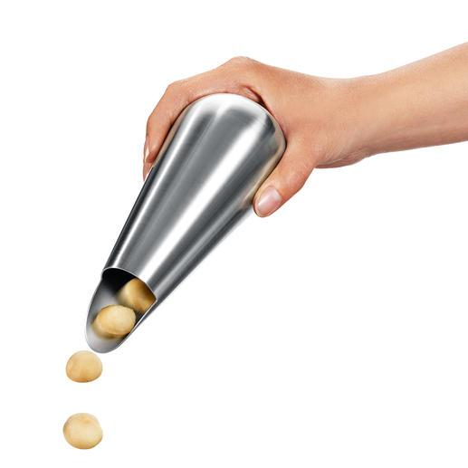 Gewoon de snackdispenser draaien en de juiste hoeveelheid nootjes komt in uw hand terecht.