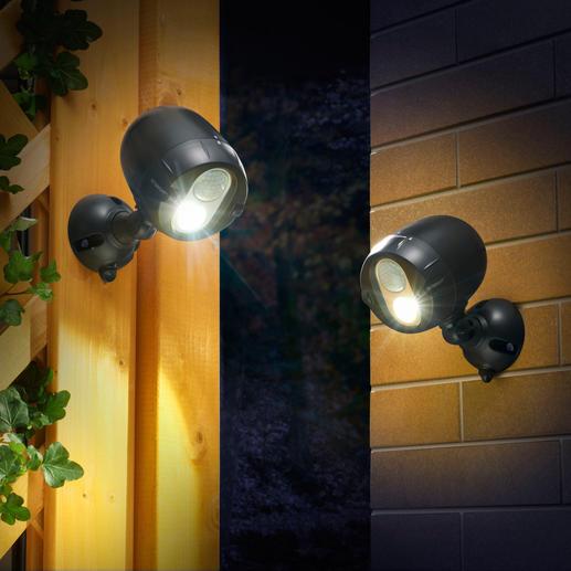 Draadloze netwerklamp, set van 2 - Door middel van een bewegingsmelder en draadloos. De op batterijen werkende, draadloos verbonden led-spots.