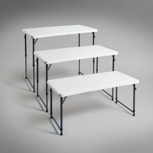 Drievoudig in hoogte verstelbaar - ook ideaal als buffet- en bijzettafel, eet- en werktafel, speeltafel voor de kinderen, …