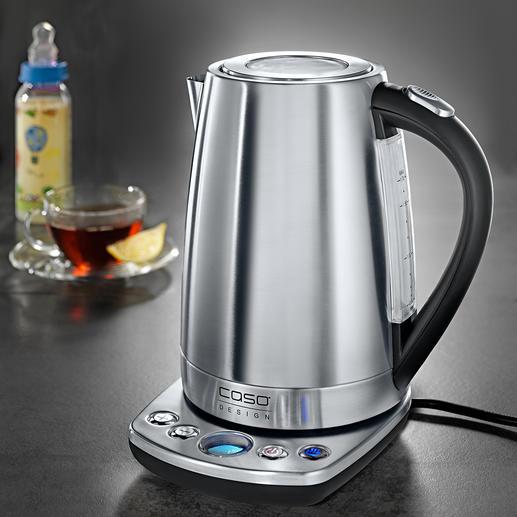 Design-waterkoker met temperatuurkeuze De nieuwe standaard.  Edelstalen waterkoker met exacte temperatuurkeuze in 7 standen (normaal 3-5).