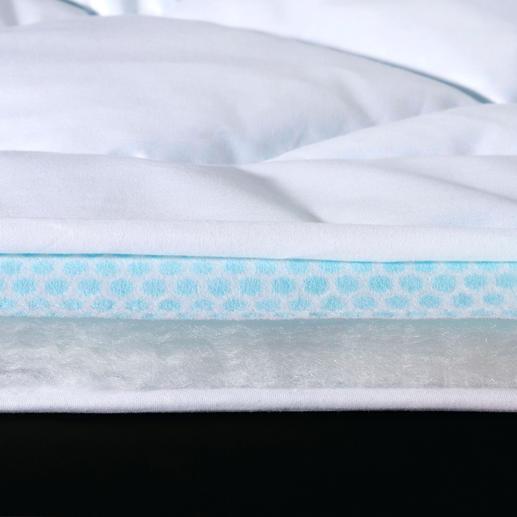 PCM-hightech-vlies in plaats van tochtige ventilatoren. De onzichtbaar in het vlies verwerkte Phase-Change-Microcapsules (PCM) nemen overtollige lichaamswarmte op en voeren die direct af naar buiten. Door het snelle warmtetransport blijft het oppervlak van het vlies altijd koel. Zelfs bij zeer hoge temperaturen slaapt u fris en ontspannen, zonder te zweten.