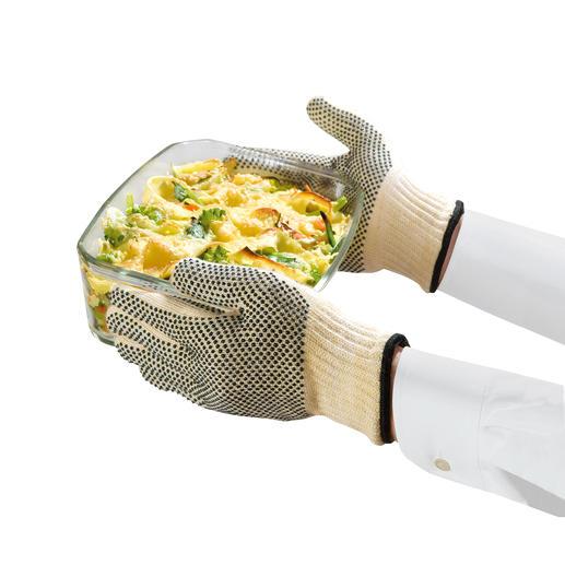Met deze ovenhandschoenen kunt u hete bakvormen beetpakken – en zelfs brandend haardhout. Van hittebestendig materiaal van coureurspakken.