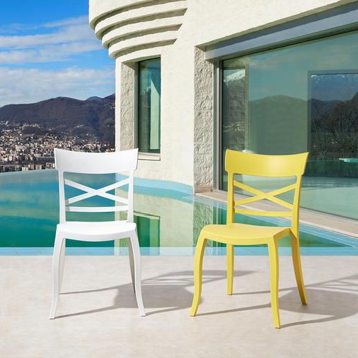 Designstoel voor binnen en buiten Trendy, sfeervol, weerbestendig – de perfecte stoel voor binnen en buiten.