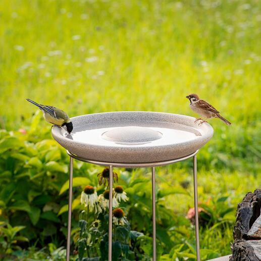 Granicium®-vogelbadje met edelstalen standaard Modern design. De 50 cm hoge edelstalen standaard beschermt tegen katten etc. UV- en weerbestendig.