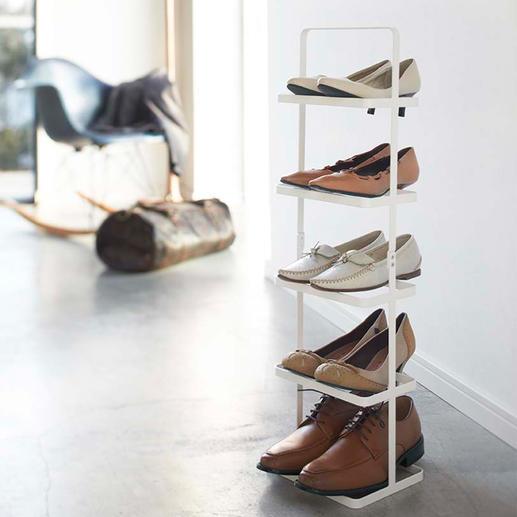 Draagbaar schoenenrek 'Tower' Sierlijk. Overzichtelijk. Mobiel. Maar liefst 5 paar schoenen op het oppervlak van één paar.