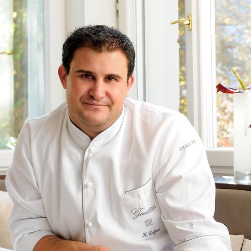 Klaus Erfort, chef de cuisine in 'Gästehaus Klaus Erfort' in Saarbrücken (Duitsland), onderscheiden met 3 Michelin-sterren en 19,5 punten in de Gault Millau.