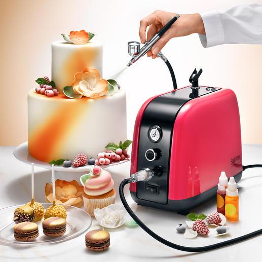 Airbrush-compressorset, 7-delig - Maak de mooiste taarten – met de techniek van de professionals.