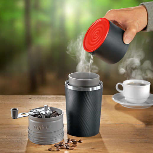 Cafflano all-in-one-cafetière De eerste koffiebar voor onderweg. Maalt, filtert, zet en serveert. Zonder stroom.