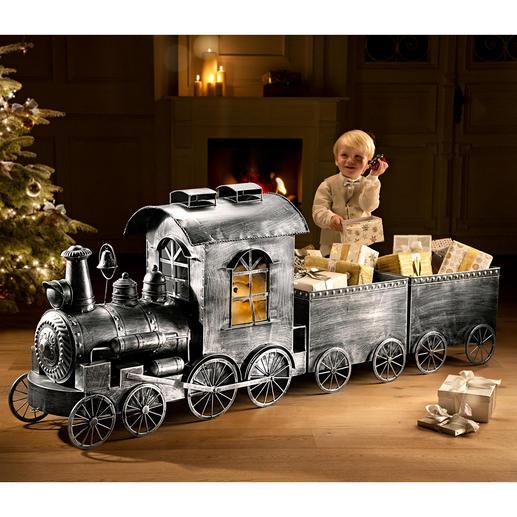 Nostalgische locomotief of wagon Van aluminium in antiek-look. Perfect voor de kerst, voor party's of gewoon als decoratie.