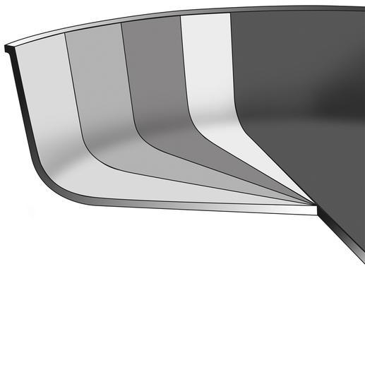 De speciale ferromagnetische bodem van de pan is volledig gesoldeerd.