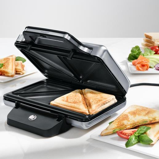 WMF LONO sandwich-toaster Veel veiliger: deze sandwich-toaster van edelstaal (Cromargan®)  blijft aan de buitenkant echt koel.